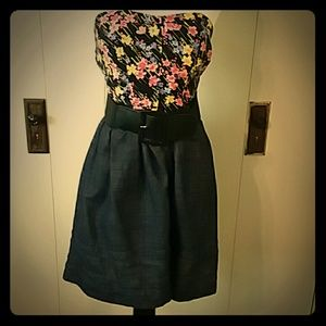 XOXO Strapless Floral Fit/Flare